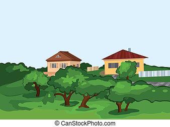 arbres, vert, maisons, dessin animé, village