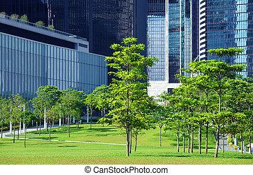 arbres verts, cbd, secteur