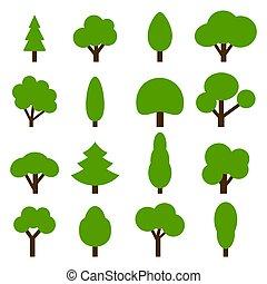 arbres verts, collection, icon., vecteur