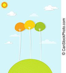 arbres verts, coloré, colline