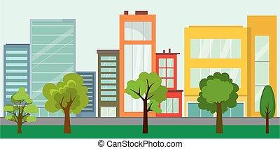 arbres, vie, rue vide, concept, ville, urbain