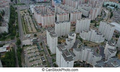 arbres, voisinage, appartement, vert, vue., résidentiel, complexe, aérien