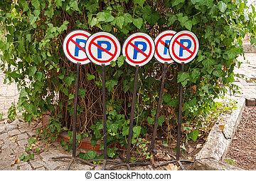 arbrisseau, signes, vert, stand, parking a interdit, route