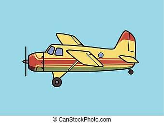 arbusto, avión, pistón, avión, avión., plano, vector, illustration., aislado, en, azul, fondo.