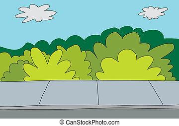 arbustos, acera