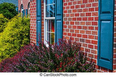 arbustos, casa azul, frente, ladrillo, obturadores
