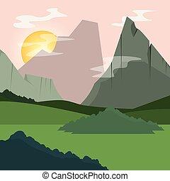 arbustos, montanha, natural, floresta, paisagem