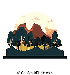 arbustos, montanhas, natural, árvores, foliage, paisagem