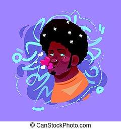 arcél, érzelem, fújás, ikon, megcsókol, arc, avatar, csípőre szabott, portré, mosolyog bábu, karikatúra, hím, boldog