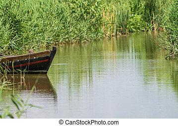 arcél, behatol, csatorna, kilátás, wooden csónakázik
