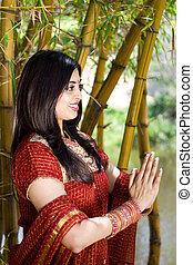 arcél, közül, imádkozás, indiai, nő