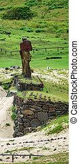 arcél, moai, emelvény, anakena, kilátás, tengerpart