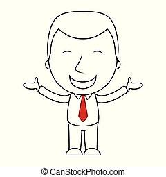 arc, üzletember, egyenes, kifejezés, karikatúra, boldog