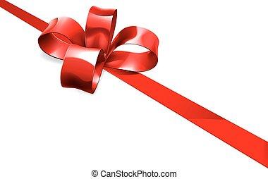 arc, arrière-plan rouge, cadeau