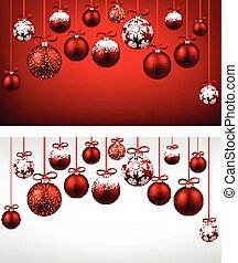 Arc background with red christmas balls. - Abstract arc...