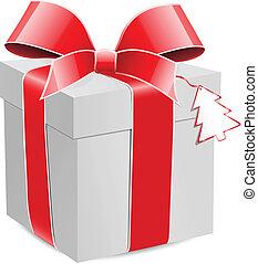 arc, boîte, cadeau, rouges
