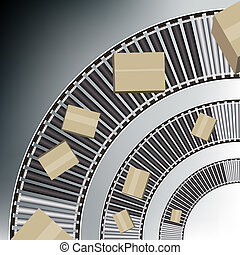 Arc Conveyor Belt Boxes - An image of a arc conveyor belt...