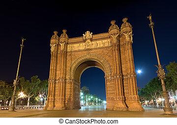 arc, de, barcelone, nuit, triomf, espagne