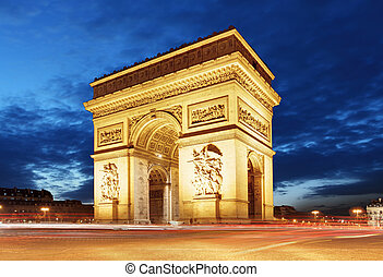 Arc De Triomphe and light trails, Paris