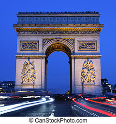 Arc de Triomphe by night square - view of Arc de Triomphe by...