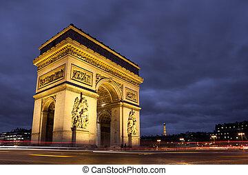 arc de triomphe, carlo, de, gaulle, quadrato, parigi, francia