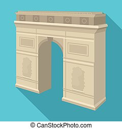 Arc de Triomphe in Paris. Arch Building single icon in flat...
