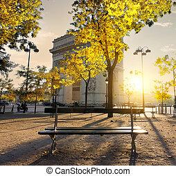 Arc de Triomphe in Paris autumn