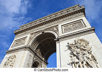 Arc de Triomphe in Paris - The impressive Arc de Triomphe in...