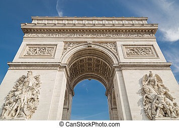 Arc de Triomphe in Paris under sky with clouds. One of...