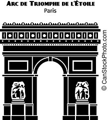 Arc de Triomphe in Paris vector black isolated silhouette....