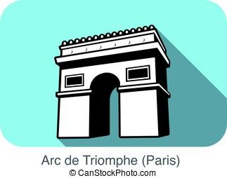 Arc De Triomphe landmark flat icon design
