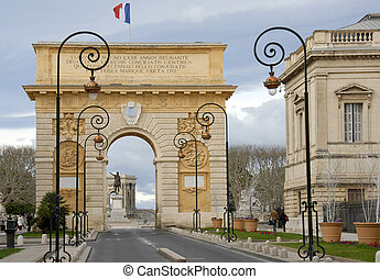 Arc de Triomphe, Montpellier, Languedoc Roussillon, France. Built in 1692 by Charles-Augustin Daviler to the glory of Louis XIV
