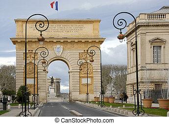 Arc de Triomphe, Montpellier, Languedoc Roussillon, France. ...