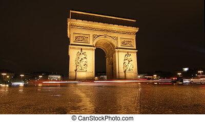 Arc de Triomphe. Night Timelapse.