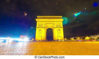 Arc de Triomphe, Paris, France, 4k UHD timelapse
