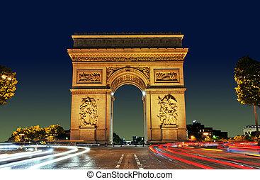 Arc de Triomphe, Paris France - Arc de Triomphe at Sunset,...