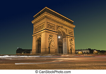 Arc de Triomphe, Paris France - Arc de Triomphe with passing...
