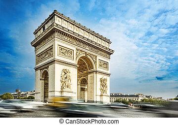 Arc de triomphe, Paris, France, at the blue sky background.