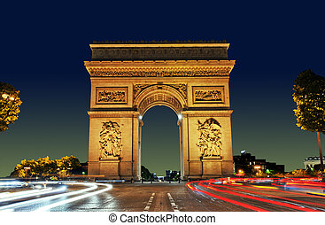 Arc de Triomphe, Paris France - Arc de Triomphe at Sunset,...