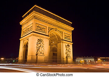 Arc de Triomphe - The Arc de Triomphe at night - Charles de...