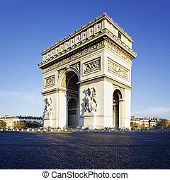 Arc de Triomphe - view of the Arc de Triomphe in morning...