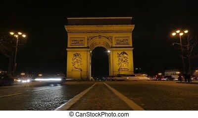 Arc de triumph-Paris France Time Lapse, Europe