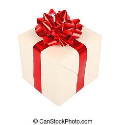arc don, boîte, blanc rouge