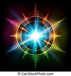 arc-en-ciel, étoile, néon, résumé, cosmique, spirales