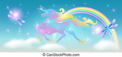 arc-en-ciel, étoiles, libellule, univers, ciel, contre, luxueux, enroulement, étincelant, iridescent, licorne, fond, galoper, crinière