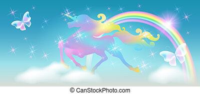arc-en-ciel, étoiles, univers, ciel, contre, luxueux, enroulement, étincelant, iridescent, licorne, fond, galoper, crinière