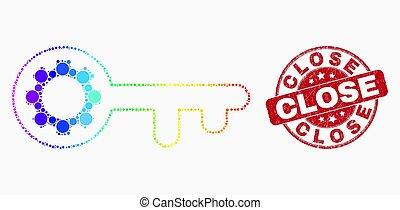 arc-en-ciel a coloré, détresse, timbre, vecteur, clã©, fin, icône, pixel, engrenage