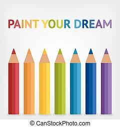 arc-en-ciel a coloré, fond, crayons