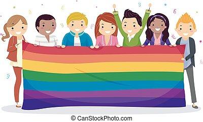 arc-en-ciel, adolescents, bannière, célébrer, stickman