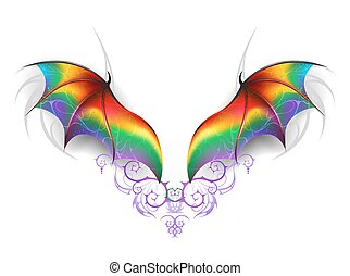 arc-en-ciel, ailes, dragon